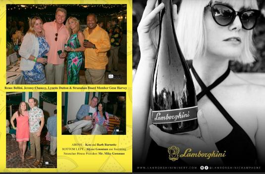 Lamborghini Champagne on right and Photo 1: Kamini Lalwani, Pineapple Jam Chair Maggie Gunther, Executive Director April Kirk, Stranahan House Board President Doug Smith  Photo 2: Maggie Gunther, Kara Perkins, Elaine Wheatley, Lais Pontes Greene, Nicole Almeida  Photo 3: Greg and Chae Haile, Ashley Boxer, Michael Lessne  Photo 4: Alyse Gossman and incoming Stranahan House Board President Mike Gossman  Photo 5:  Jared Perlman, Diana Chiorean, Elizabeth Lutz and Jennifer Rodriquez of TrippScott  Photo 6: Maggie Remek holds a unique peacock clutch donated to the silent auction by The LimeLight Collection  Photo 7: Renee Bellini, Jeremy Chancey, Lynette Dutton, Stranahan House board member Gene Harvey  Photo 8: Ken and Barb Burnette
